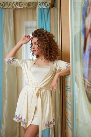 Комплект халат+сорочка Венеция молочный