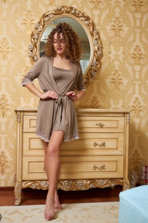 Комплект халат+сорочка Венеция мокко