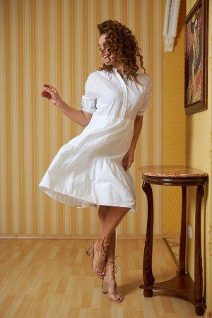 Платье-рубашка хлопковое белое