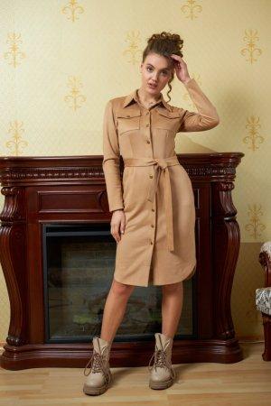 Платье-халат цельнокройное бежевое замш