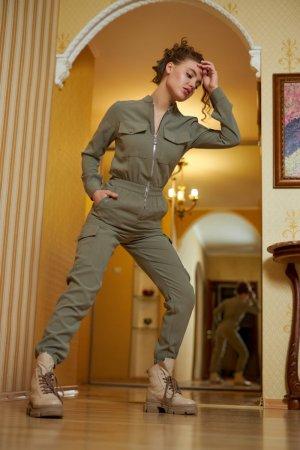 Костюм женский милитари джинс tencel