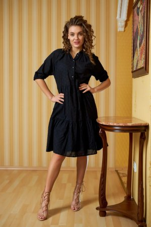 Платье-рубашка хлопковое чёрное