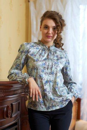 Блуза сатиновая с принтом Васильки