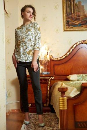 Блуза штапель с принтом цепи