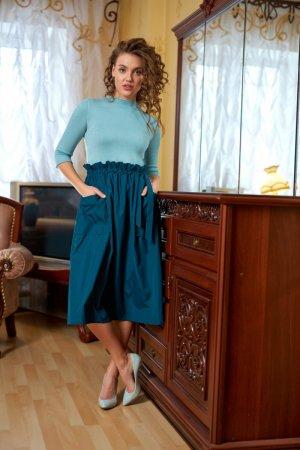 Платье комбинированное мята