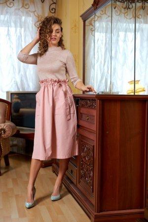 Платье комбинированное пудра